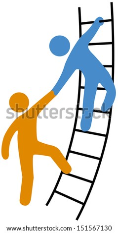 Person helping friend or partner join to climb up the ladder of success - stock vector