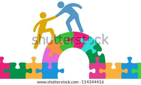 Person Helps People Join Solve Bridge Stock Vector ...