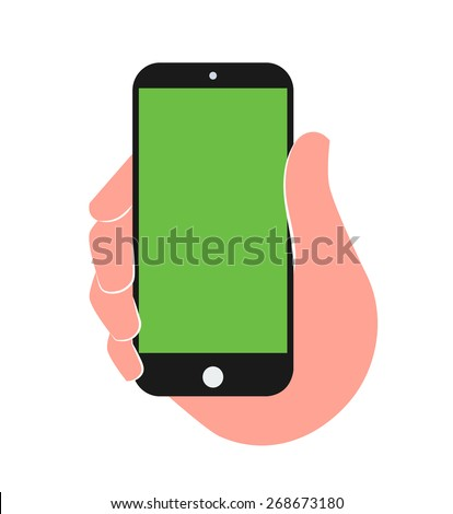 Person holding mobile in hand vector illustration. - stock vector