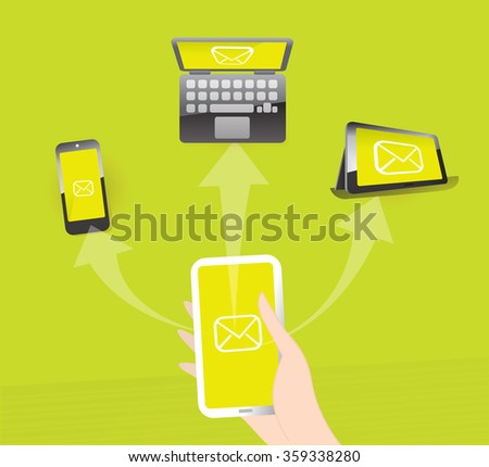 Person holds mobile phone in his hand and sending mail to other devices.  - stock vector