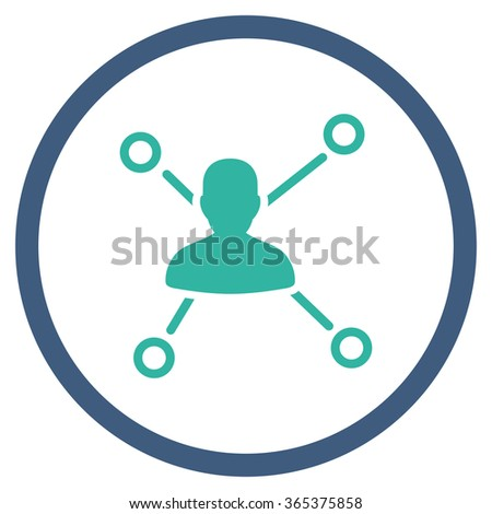 Person Links vector icon. Style is bicolor flat circled symbol, cobalt and cyan colors, rounded angles, white background. - stock vector