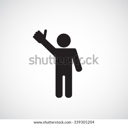 person man thumb up black icon - stock vector