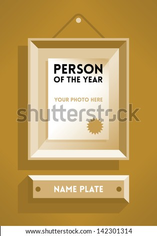Person of the Year vintage style award with free space for your photo with name plate. Idea - Business success, winning and leadership frame with free space for your photo. Enjoy! - stock vector