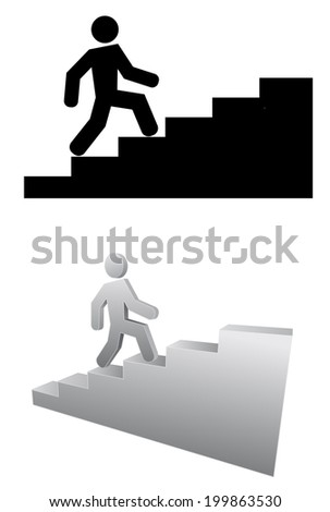 person on stair 3d icon - stock vector