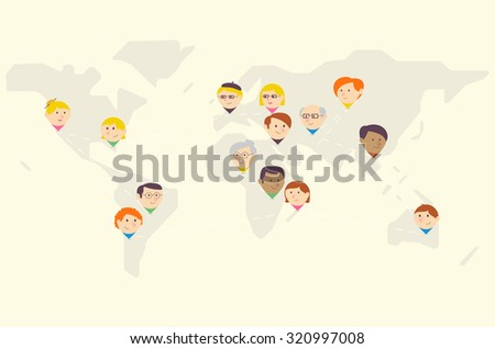 Person Pins - world map - stock vector