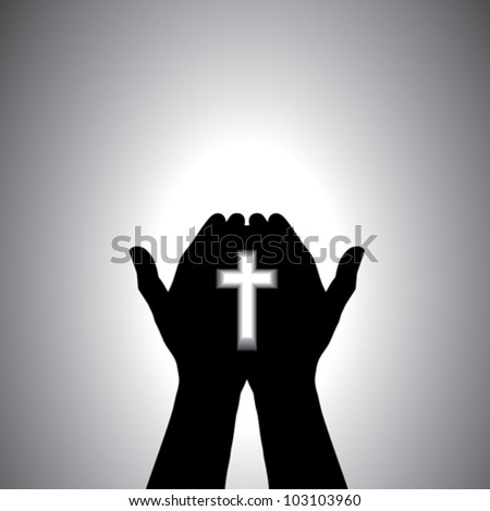 Person praying with cross in hand - concept of a devout christian worshiping Christ
