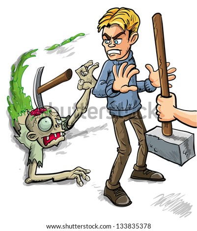 Person saying Try That Again and crashing a pick onto the skull of a gruesome zombie leaving a trail of green slime as he tries to attack a man from behind - stock vector