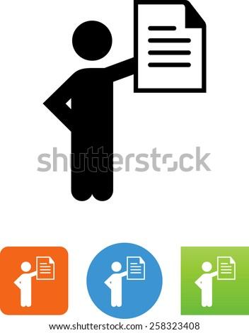 Person showing a document. Vector icons for video, mobile apps, Web sites and print projects. - stock vector