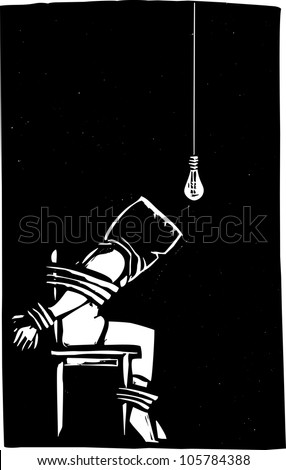 Person strapped to chair with bag over their head in interrogation scene. - stock vector