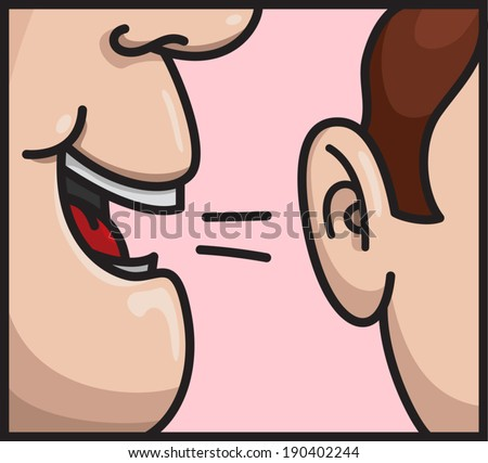 Person talking whispering on other person ear. Vector cartoon illustration - stock vector
