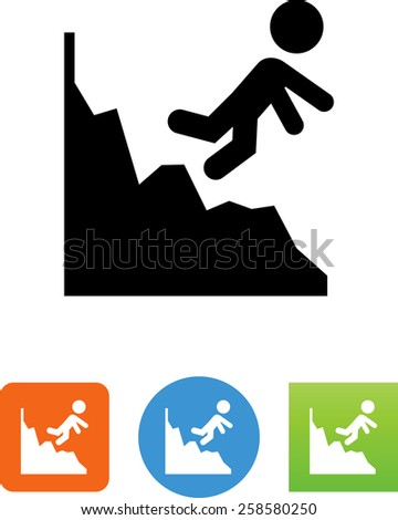 Person tripping on a downward financial chart. Editable vector icons for video, mobile apps, Web sites and print projects.  - stock vector