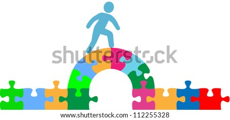Person walking over jigsaw puzzle bridge to a problem solution - stock vector