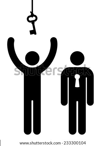 Person with lock and another trying to get key for communication - stock vector