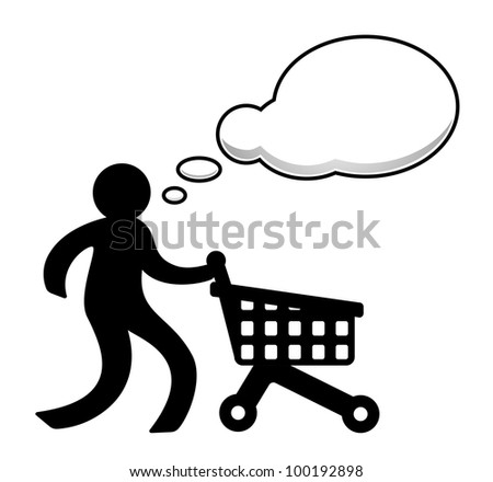 Person with shopping cart - stock vector