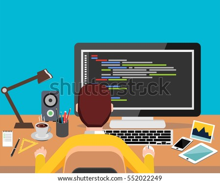 person working on computer programming coding stock vector royalty