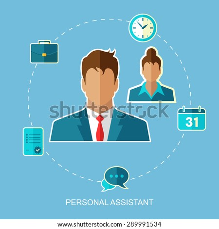 Personal assistant vector illustration. Flat design. - stock vector