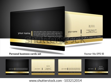 Personal business cards set - stock vector
