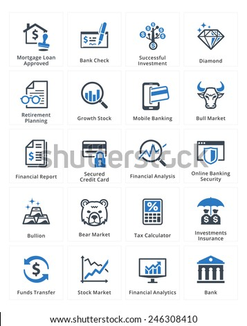 Personal & Business Finance Icons Set 1 - Blue Series  - stock vector