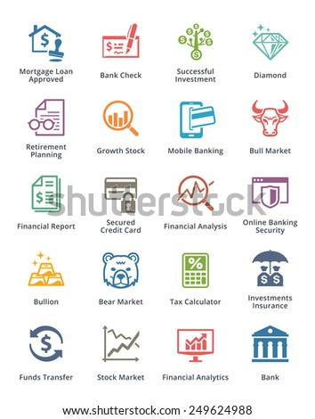 Personal & Business Finance Icons Set 1 - Colored Series  - stock vector