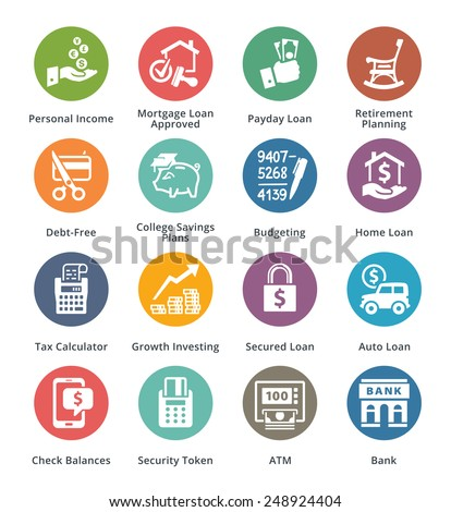 Personal & Business Finance Icons Set 2 - Dot Series  - stock vector