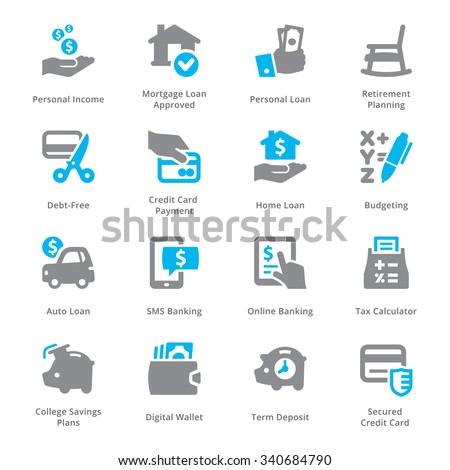 Personal & Business Finance Icons Set 2 - Sympa Series - stock vector