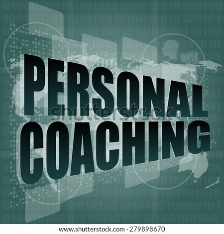 personal coaching word on touch screen, modern virtual technology background vector - stock vector