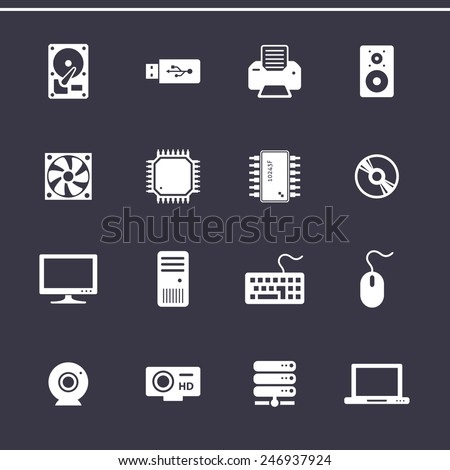 Personal computer component icons. Computer hardware. Vector icons - stock vector
