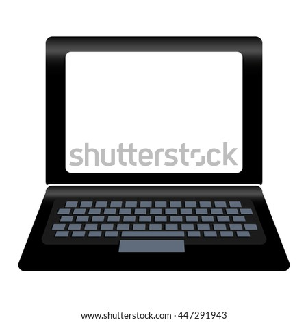Personal computer laptop device over white background isolated icon.
