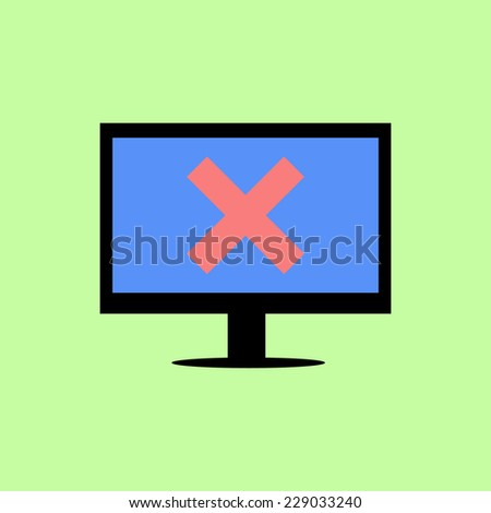 Personal computer with red cross as error icon in flat style - stock vector