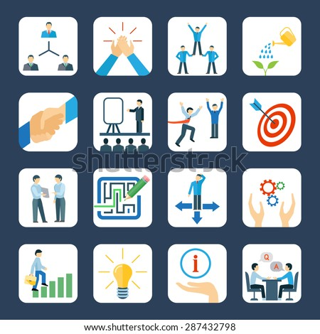 Personal development and teamwork mentoring business programs flat icons set with hands symbols abstract isolated vector illustration - stock vector