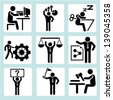 personal development concept, human resource concept and business people icons set - stock vector