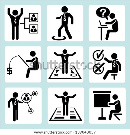 personal development icons, business management and organization icons set