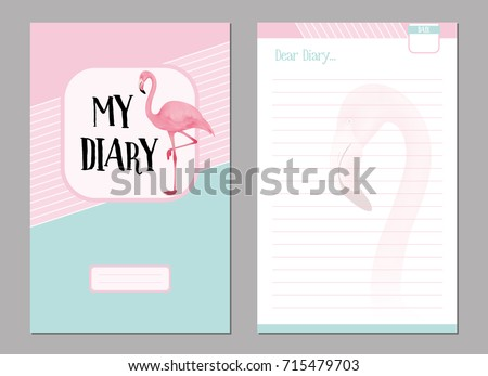 Personal Diary Template Set Pink Flamingo Stock Vector 715479703 ...