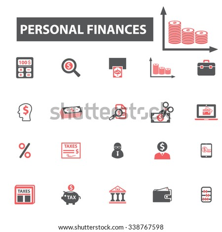 personal finance  icons, signs vector concept set for infographics, mobile, website, application  - stock vector