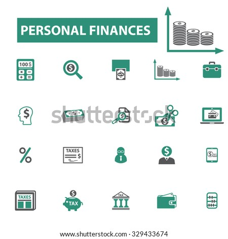 personal finances, credit, money icons - stock vector