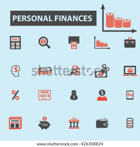 personal finances icons  - stock vector