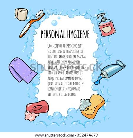 Personal Hygiene Banner Cartoon Illustration Stock Vector