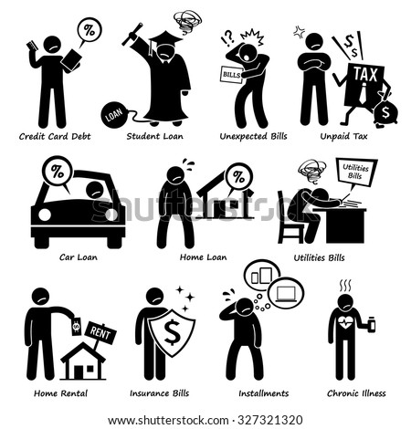 Personal Liabilities - Debt, Loan, Bills, Taxes, Rental, Installments, and Medical Payment of Stick Figure Pictogram Icons - stock vector