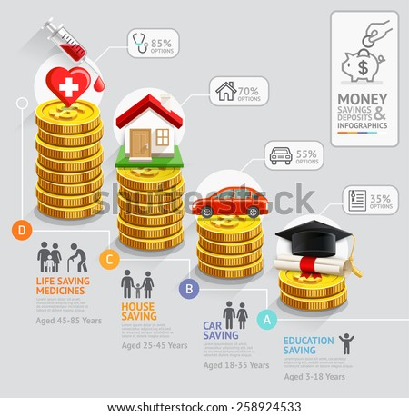 Personal Money Saving Planning Infographics Template Vector – Personal Timeline Template