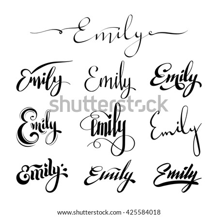 Personal name Emily. Vector handwritten calligraphy set. Handmade lettering collection - stock vector