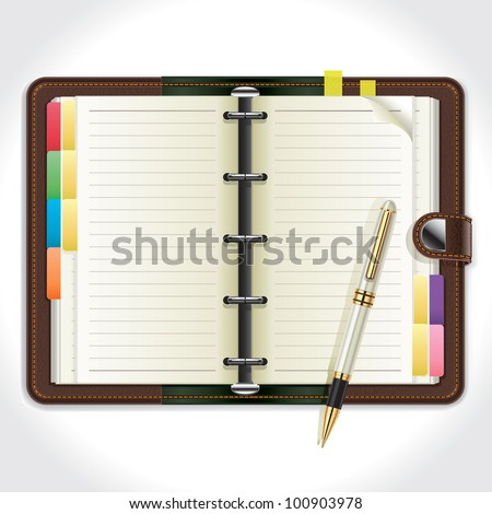 Personal Organizer with Pen. vector illustration - stock vector