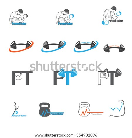 personal trainer logo design stock vector royalty free 354902096