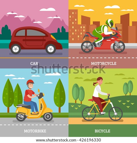 Personal transport concept with automobile motorbike bicycle with natural landscape motorcycle on city background isolated vector illustration  - stock vector