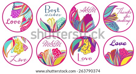 Personalized Candy Sticker Labels with floral ornament  set - perfect addition to wedding or party favors - stock vector