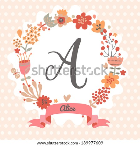 Personalized Monogram In Vintage Colors Stylish Letter A Can Be Used As Greeting Card