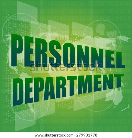 personnel department words on digital screen with world map vector - stock vector