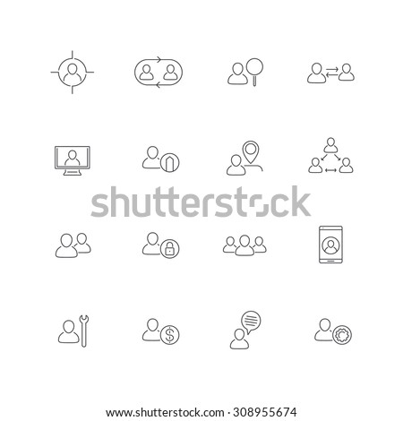 Personnel, Human resources, HR, staff, line icons, vector illustration, eps10, easy to edit - stock vector