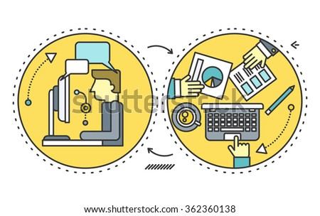 Personnel management people. Management team, leadership and business, management icon, business management, manager businessman, office and teamwork illustration. Freelance manager. Outsource concept - stock vector