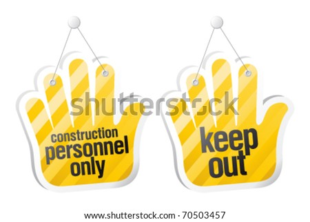 Personnel only signs, restriction set. - stock vector