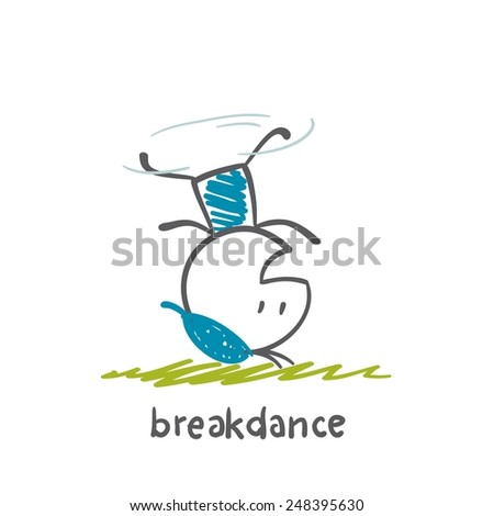 persons engaged breakdance illustration - stock vector